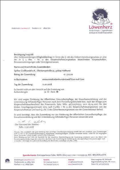 Erfolgreiche Spendenaktion für das Kinderhospiz Löwenherz e.V. in Syke
