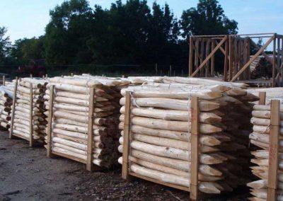 Robinien-Holz-Pfähle, entrindet, naturbelassen und gespitzt
