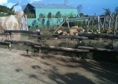 Zaun aus geschliffenen Robinien-Rundhölzern ohne Rinde